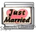 JUST MARRIED BRIDE PINK LOVE HEART Enamel Italian Charm 9mm-1x FA049 Single Link