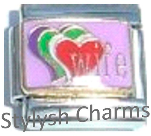FA051 Italian Charm WIFE HUSBAND MARRIAGE LOVE HEARTS Enamel Charm