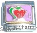 WIFE HUSBAND MARRIAGE LOVE HEARTS Enamel Italian Charm 9mm-1x FA051 Single Link