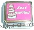 JUST MARRIED WEDDING CAKE BRIDE GROOM Enamel Italian Charm 9mm - 1 x FA054 Link