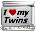 TWINS I LOVE MY TWINS RH Laser Italian Charm 9mm- 1 x FA058 Single Bracelet Link