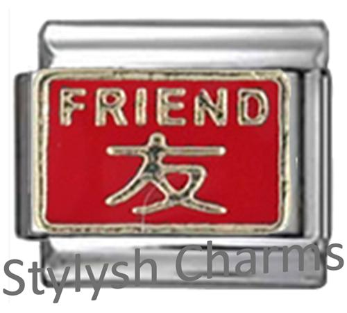 FA062 Italian Charm FRIEND CHINESE SYMBOL GOOD LUCK LUCKY Enamel Charm