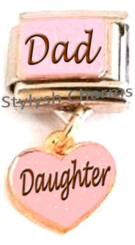 FA068 Italian Charm DAD FATHER DAUGHTER LOVE HEART Dangle Charm