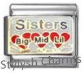 SISTERS BIG MID LIL FAMILY LOVE Enamel Italian Charm 9mm - 1 x FA083 Single Link