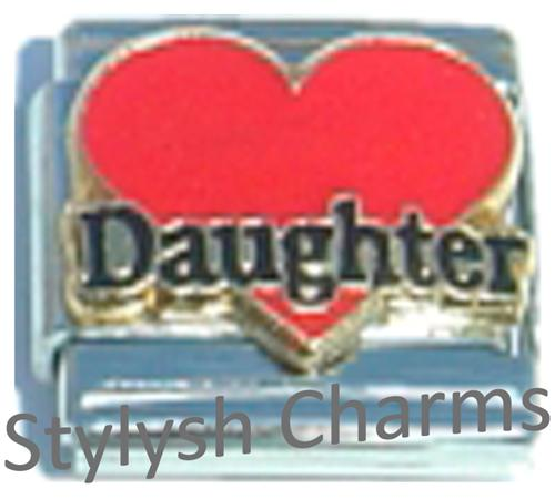 FA084 Italian Charm DAUGHTER RED LOVE HEART Enamel Charm