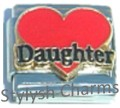 DAUGHTER RED LOVE HEART Enamel Italian Charm 9mm - 1x FA084 Single Bracelet Link