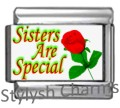 SISTERS ARE SPECIAL Photo Italian Charm 9mm Link - 1x FA109 Single Bracelet Link