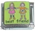 FRIENDS BEST FRIEND Enamel Italian Charm 9mm - 1 x FA118 Single Bracelet Link