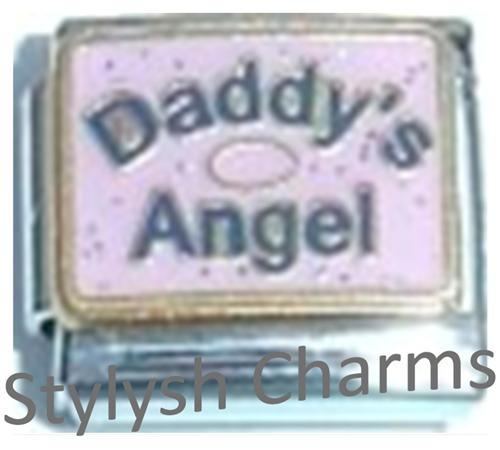 FA119 Italian Charm DAD DADDYS ANGEL ON PINK Enamel Charm