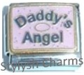 DAD DADDYS ANGEL ON PINK Enamel Italian Charm 9mm- 1x FA119 Single Bracelet Link