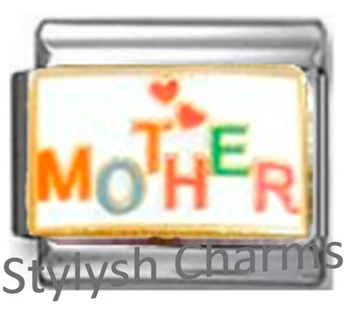 FA122 Italian Charm MOTHER MOM MUM HEARTS Enamel Charm