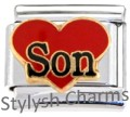 SON RED LOVE HEART Enamel Italian Charm 9mm - 1 x FA129 Single Bracelet Link