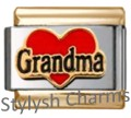 GOLD TONE TRIM GRANDMA LOVE HEART Enamel Italian Charm 9mm-1x FA133 Single Link