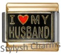 GOLD TONE TRIM I LOVE MY HUSBAND Enamel Italian Charm 9mm- 1 x FA134 Single Link