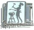 BBQ AUSSIE BARBECUE BARBEQUE LOVER CHEF Enamel Italian Charm 9mm - 1x FO037 Link
