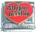 ALL YOU NEED IS LOVE Enamel Italian Charm 9mm - 1 x LV035 Single Bracelet Link