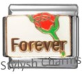 FOREVER LOVE RED ROSE Enamel Italian Charm 9mm - 1x LV077 Single Bracelet Link