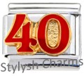 40 40TH FORTY FORTIETH Enamel Italian Charm 9mm - 1 x NC032 Single Bracelet Link