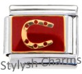 HORSE SHOE LUCKY Enamel Italian Charm 9mm - 1 x NC090 Single Bracelet Link