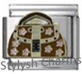 HANDBAG DESIGNER LABEL Enamel Italian Charm 9mm - 1 x NC098 Single Bracelet Link
