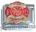 FIRE FIGHTER DEPARTMENT FIREMAN Enamel Italian Charm 9mm - 1 x NC118 Single Link