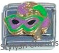 MARDI GRAS SLEAZE BALL MASK FUN Enamel Italian Charm 9mm - 1 x NC175 Single Link