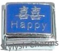 HAPPY CHINESE SYMBOL GOOD LUCK LUCKY Enamel Italian Charm 9mm-1x NC178 Sgle Link