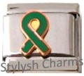 RIBBON ORGAN DONOR GREEN AWARENESS Enamel Italian Charm 9mm - 1x NC206 Sngl Link