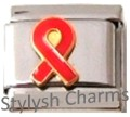 RIBBON AIDS RED AWARENESS Enamel Italian Charm 9mm - 1 x NC207 Single Link