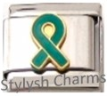 RIBBON OVARIAN CANCER TEAL AWARENESS Enamel Italian Charm 9mm-1x NC208 Sngl Link