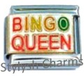 BINGO QUEEN *CLEARANCE* Enamel Italian Charm 9mm Link - 1 x NC242 Single Link