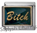 BITCH BLACK DIVA SASSY Enamel Italian Charm 9mm - 1 x NC247 Single Bracelet Link