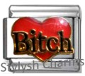 BITCH RED HEART DIVA Enamel Italian Charm 9mm - 1 x NC248 Single Bracelet Link