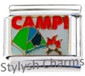 CAMP CAMPING OUTDOORS Enamel Italian Charm 9mm - 1 x NC265 Single Bracelet Link