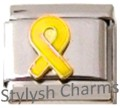 RIBBON TROOPS YELLOW AWARENESS Enamel Italian Charm 9mm - 1 x NC299 Single Link