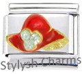 RED HAT CZ RHINESTONES Enamel Italian Charm 9mm Link - 1 x NC301 Single Link