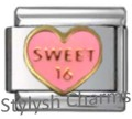 16 16TH SWEET SIXTEEN PINK Enamel Italian Charm 9mm - 1 x NC303 Single Link