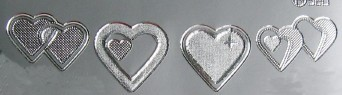Silver Loveheart Stickers for scrapbooking