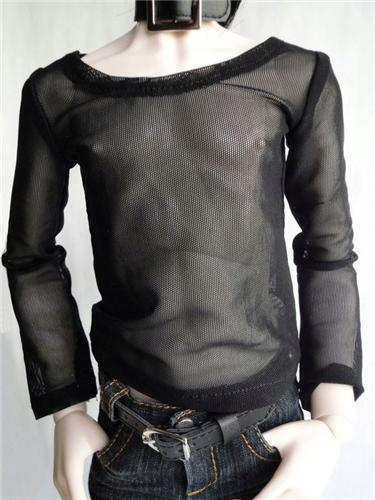 06# Black Fishnet T-shirt/Outfit SD17 DZ70 AS AOD 70cm BJD Dollfie