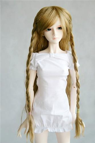 "00# Flax Braids Crimp Wave Long Wig 1/3 SD DZ BJD Dollfie 8-9"" inch"