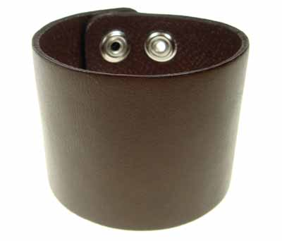 Quality Dark Brown Plain Leather Cuff Bracelet 19b1111