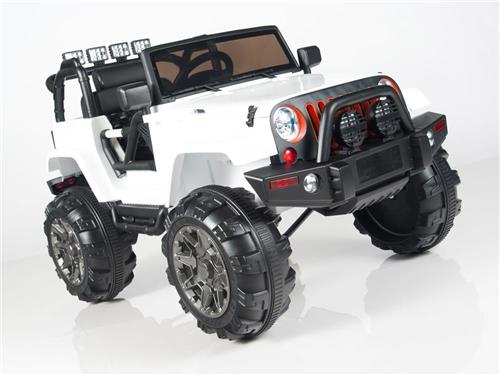 Kids 12v Power White Jeep Style Car Parental R/C Remote Control Ride On