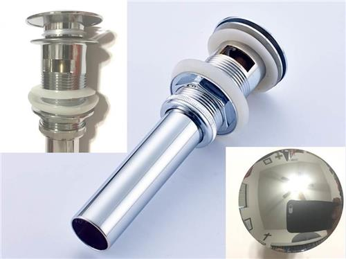 Chrome Pop Up Drain Metal Push Button With Over Flow For Standard & Vessel Sinks