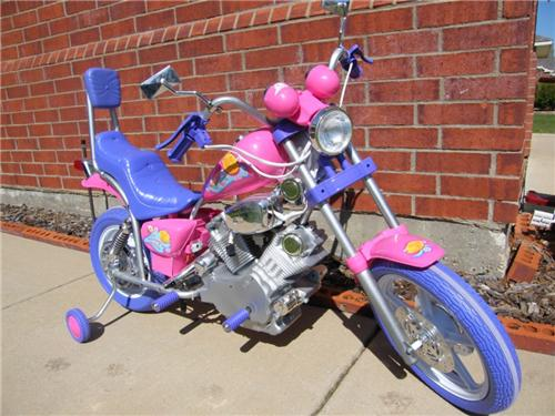 Pink Girls Power Ride on Motorcycle Wheels Kids 6v Harley