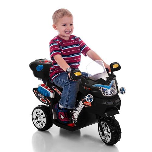 Kids Electric Battery Power FX Motorcycle 3 Wheels 6v Bike Black Racer
