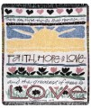 Faith Hope & Love Garden Inspirational Tapestry Throw