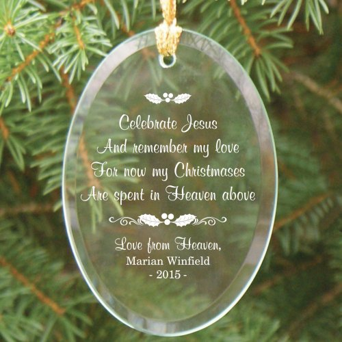 Memorial Christmas Ornaments.Personalized In Heaven Memorial Christmas Glass Ornament