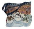 Snowman Christmas Decorative Tapestry Tote Bag