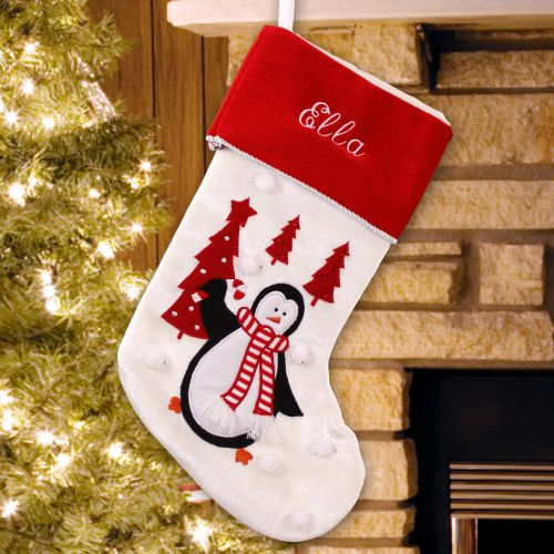 5f232229019 Personalized Embroidered Penguin Trees Christmas Stocking. S75009L