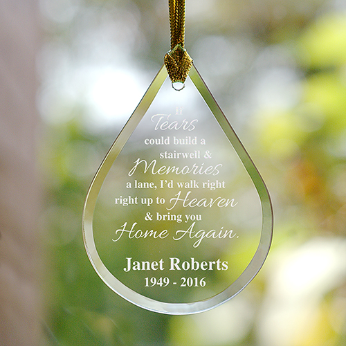 personalized my tears memorial glass tear drop christmas ornament